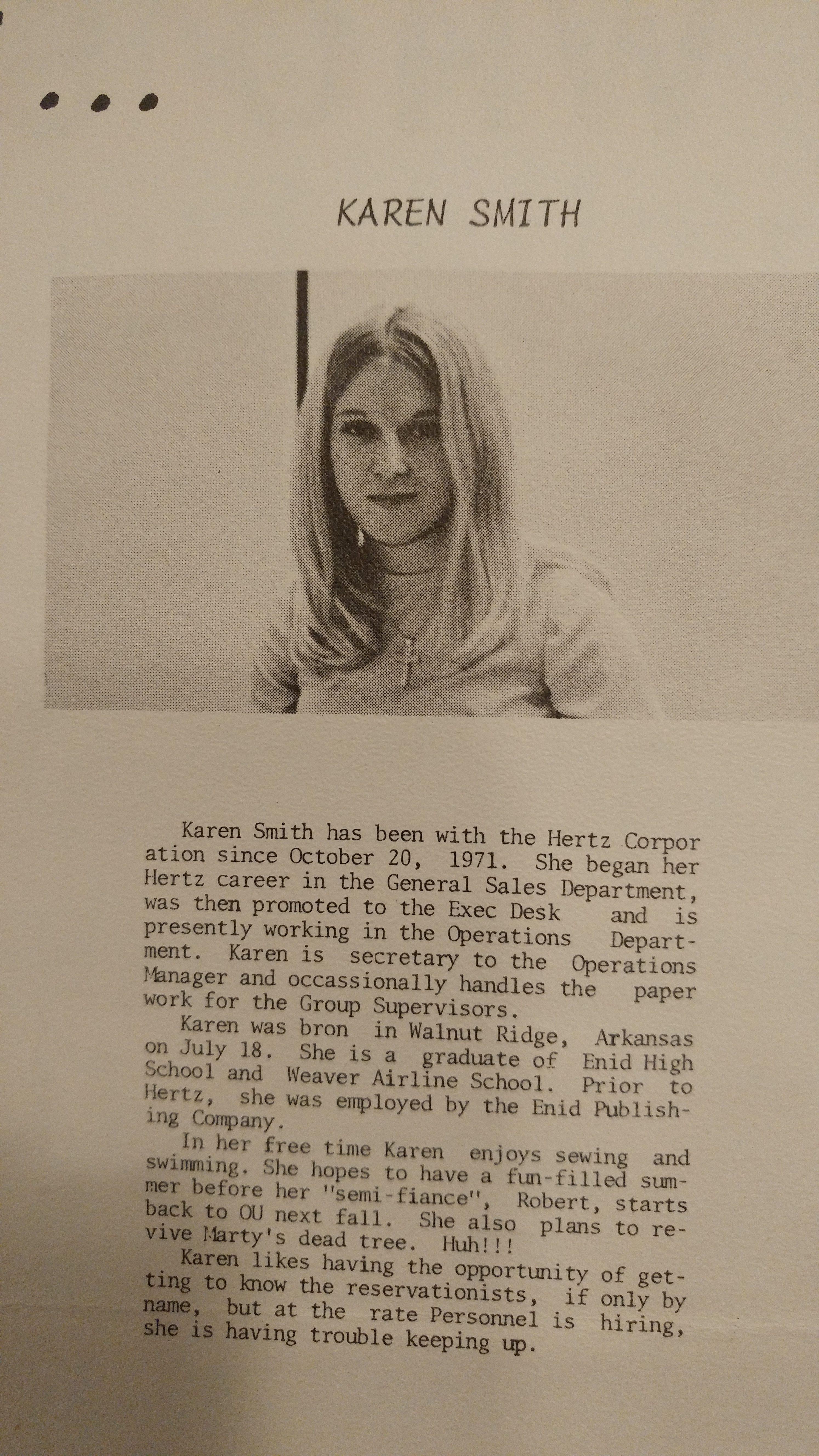 Karen Smith when I worked at Hertz Rent a Car