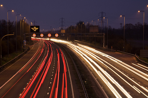 traffic at night long exposure photo